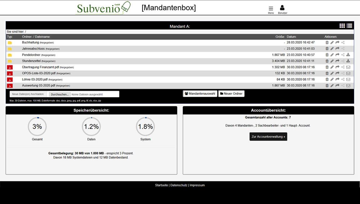 Mandantenbox Daten zwischen Kanzlei und Mandant sicher übertragen